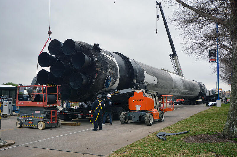 SpaceX Falcon 9 rocket booster arrived to NASA's Johnson Space Center in Texas where it will go on display