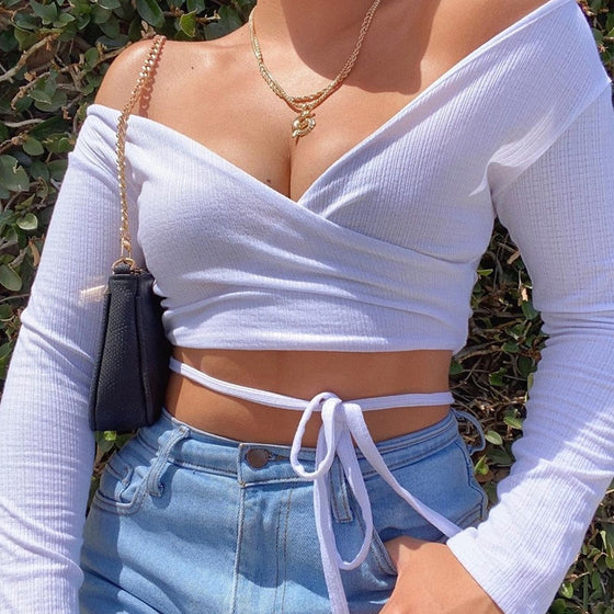 V-Neck Wrap Crop Top - DiPrié