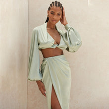 Silky Satin Draped Matching Sets - DiPrié