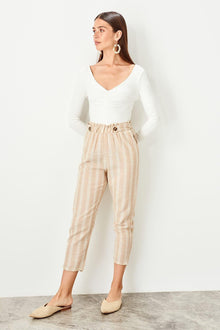 Beige Button Pants - DiPrié
