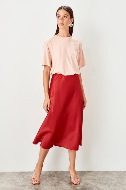 Coral Red Skirt  Chic - DiPrié
