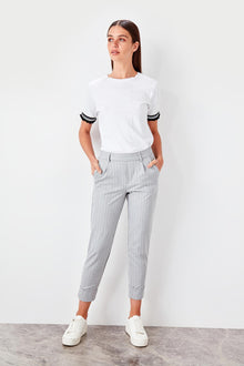 Gray Striped Pants - DiPrié