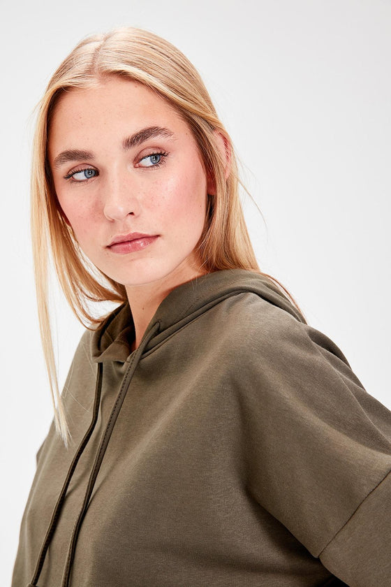 Khaki Hooded Crop - DiPrié