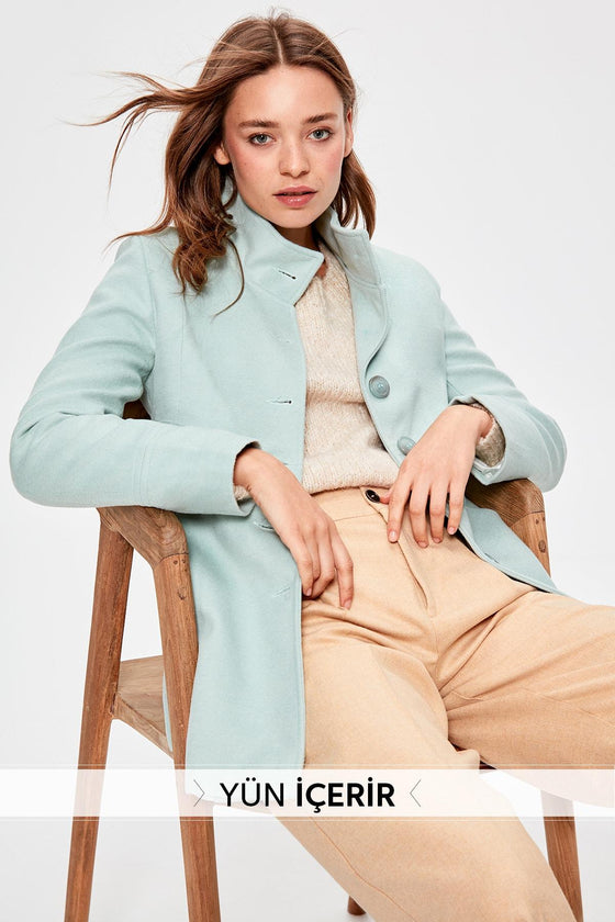Mint Woolen Coat - DiPrié