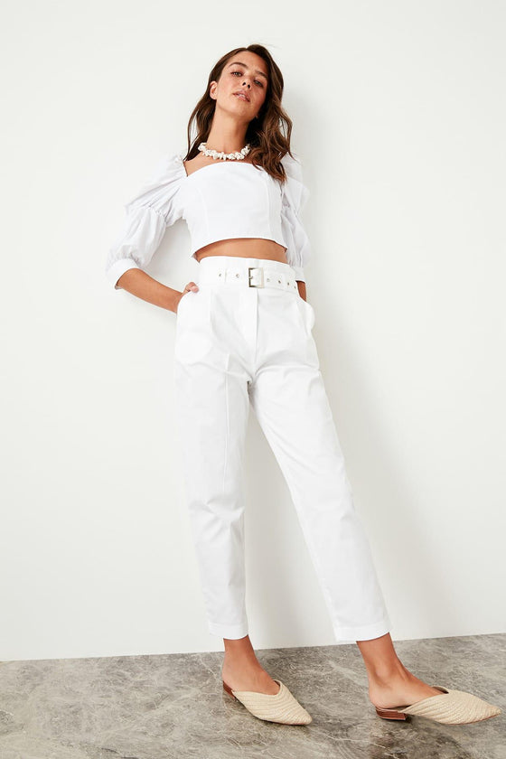 White High Waist Loose with Belt - DiPrié