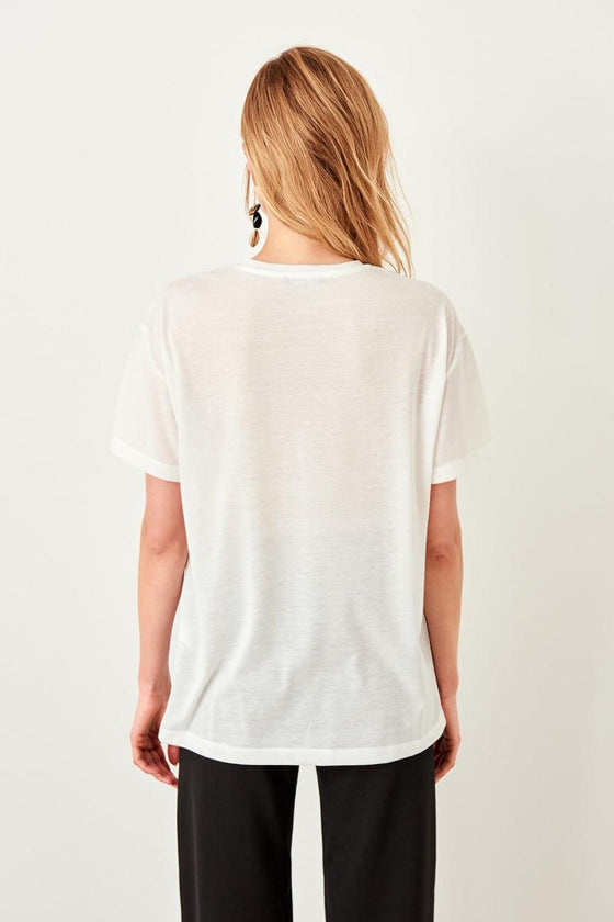 White Printed Knitted T-Shirts - DiPrié