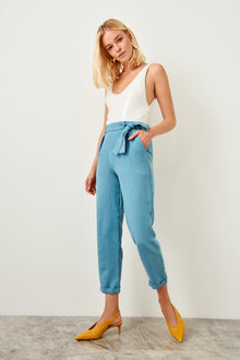 Blue Belt Detailed Pants - DiPrié