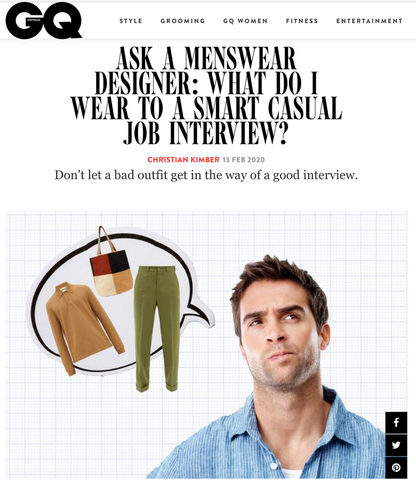 Our Monthly GQ Article: Ask A Menswear Designer: What Should Be My First Investment Purchase?