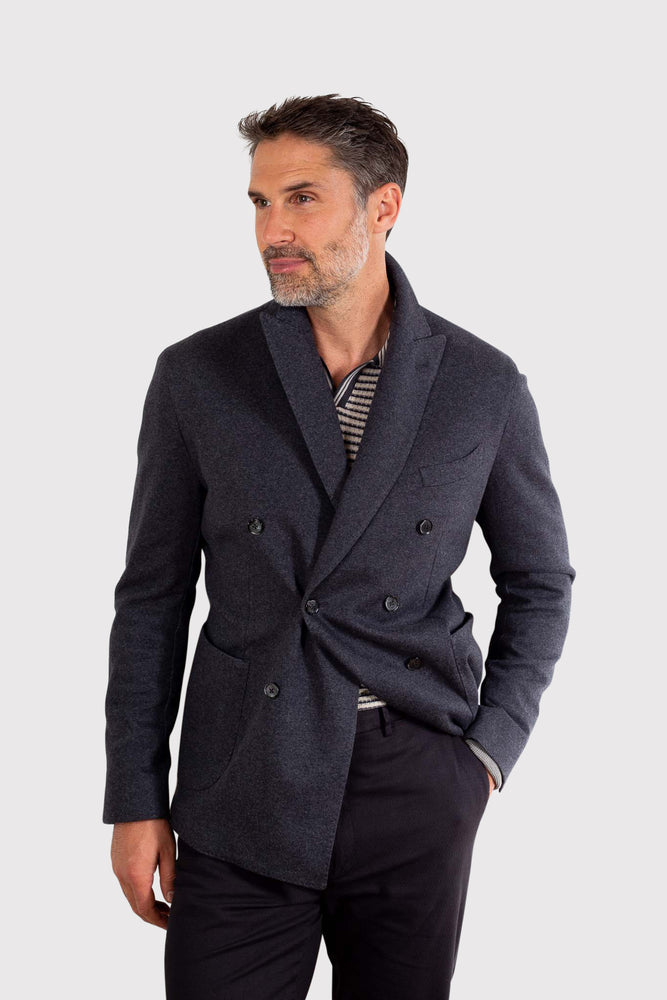 Unstructured Stretch Double Breasted Blazer - Charcoal