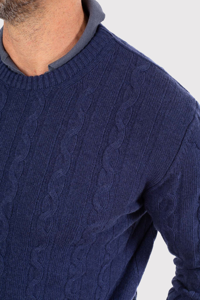 Load image into Gallery viewer, Australian Wool/Cashmere Cable Knit - Denim Blue