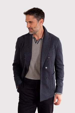 Load image into Gallery viewer, Unstructured Stretch Double Breasted Blazer - Charcoal