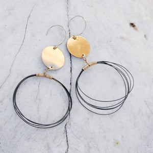 Chaos Gold with Black Wire Earrings