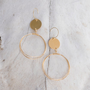 Chaos Gold Earrings - long gold disc and wrapped wire earrings