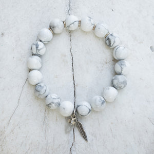 White Marble and Silver Bracelet