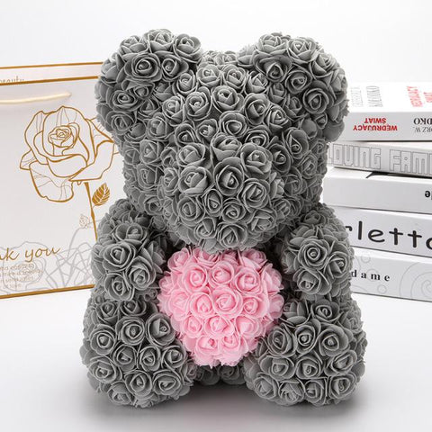 Ours en Rose Artificielle Gris