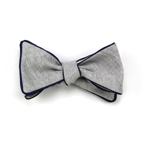 Navies: Gray Chambray Butterfly Bow-tie with Blue Trim