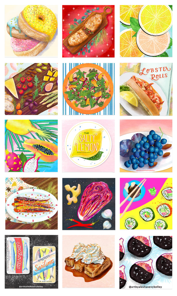 Food illustrations for licensing by Alesha Sevy Kelley. Featuring donuts, citrus fruits, tropical fruit, bread pudding, roasted carrots, chocolate figs, grapes, lobster roll and salad.