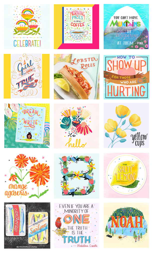Hand lettered illustrations available for licensing by Alesha Sevy Kelley