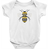 "100% cotton white onesie that reads, ""Don't Call Me Honey, Call Me Boss."" in yellow and black hand lettered illustration style."