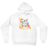 White hoodie with an illustration of pink mimosa flowers and the word MIMOSA hand lettered. Gift for women.