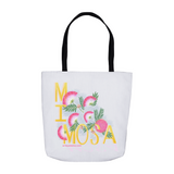 "Sturdy reusable shopping tote bag hand lettered with the word ""Mimosa"" and illustrated with botanical pink mimosa flowers."