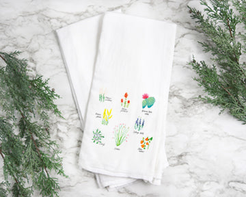 Desert Flower tea towel featuring, prince's plume, Indian paintbrush, ocotillo, indigo bush, globe mallow, purple mat, Palmer's penstemon.