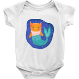 white short sleeved onesie with illustration of orange purrmaid (mermaid cat) with a green fit floating in space.