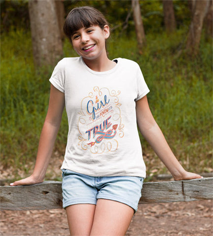 "Girl wearing white cotton T-Shirt with the hand lettered phrase, ""Oh Girl, you know it's true - you do!"""