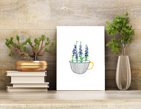 Wall art unframed print 8.5 X 11 Indigo Bush wildflowers in a black striped mug with a gold handle. Home decor.