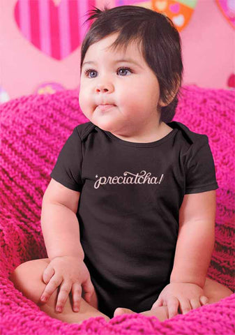 "Baby body suit hand lettered with the word ""preciatcha"""