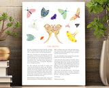 Wall art, unframed print with moth illustrations and story about moth transformation. 8.5 X 11 Unframed print.