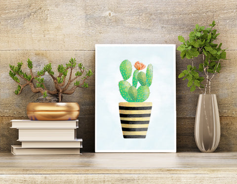 Wall Art Print | Cactus Blossom Potted Houseplant | 8.5 X 11 Unframed Print