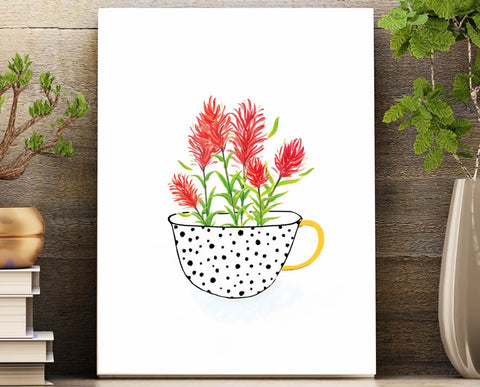 Desert Paintbrush Cup of Tea unframed 8.5 X 11 wall art print features bold and colorful illustrated art vibrantly printed on letter sized sturdy matte photo paper. Perfect home decor.