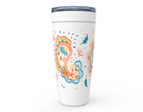 White travel mug tumbler with digitally hand drawn paisleys in bold colors.