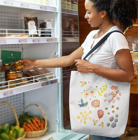 Durable reusable shopping tote bag featuring digitally illustrated botanical seed pods; perfect for Farrmers Markets, picnics, local shopping, gifts for nature lovers, gifts for women.