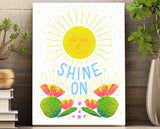 Wall art 8.5 x 11 print with sunshine, blooming succulents and flowers illustration.