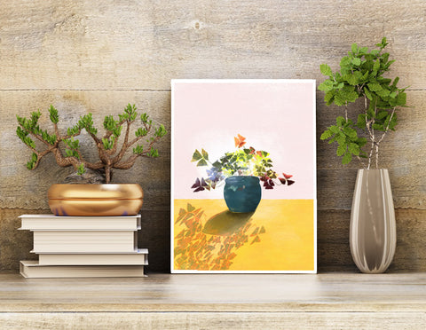 Unframed 8.5 X 11 Art print for home decor, featuring a potted shamrock plant in a turquoise pot on a yellow table with a pink background.