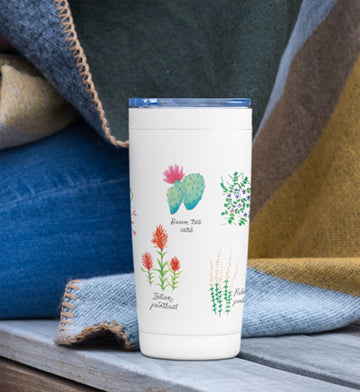 Desert Flower travel tumbler mug  featuring prince's plume, Indian paintbrush, ocotillo, indigo bush, globe mallow, purple mat, Palmer's penstemon.