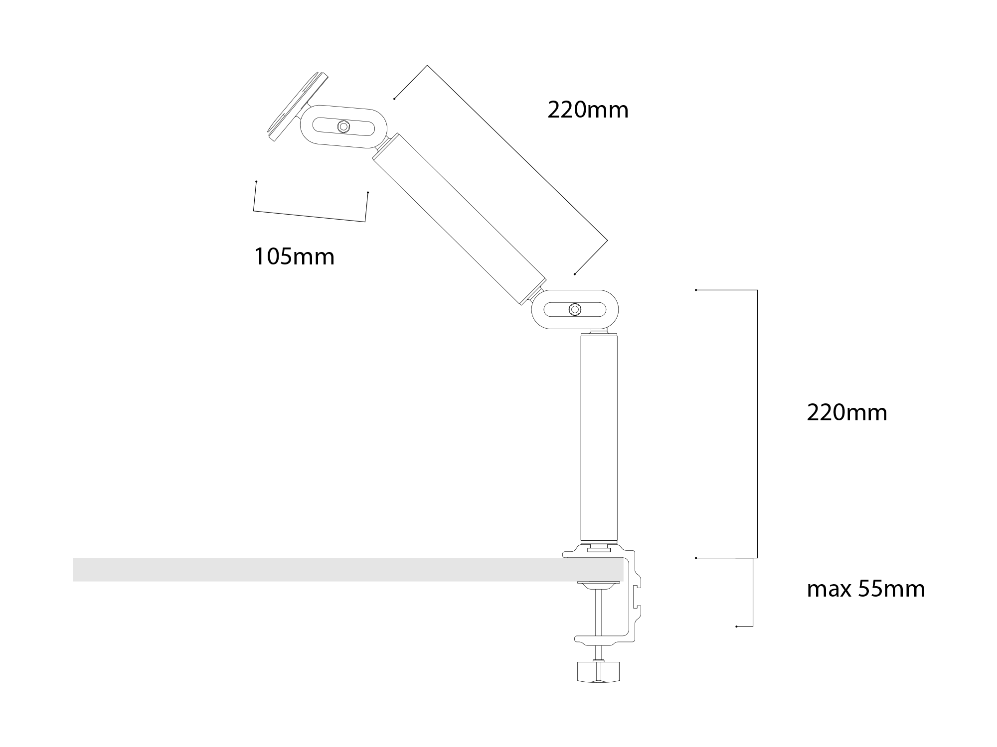 Connect Arm Dimensions Table