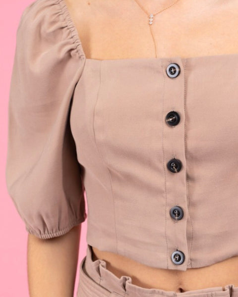 Square Neck Button Blouse