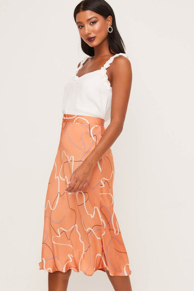 Satin Scribble Midi Skirt