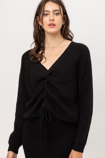 Adjustable Tie Knit Sweater
