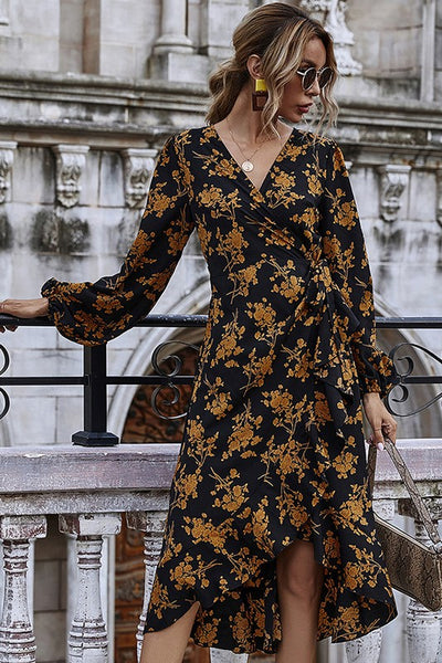 Midnight Floral Midi Dress