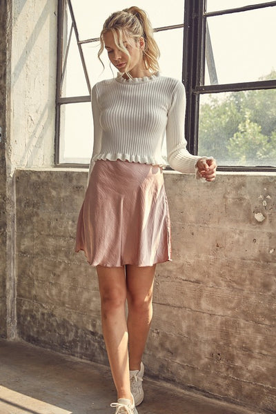 Satin Flowy Mini Skirt