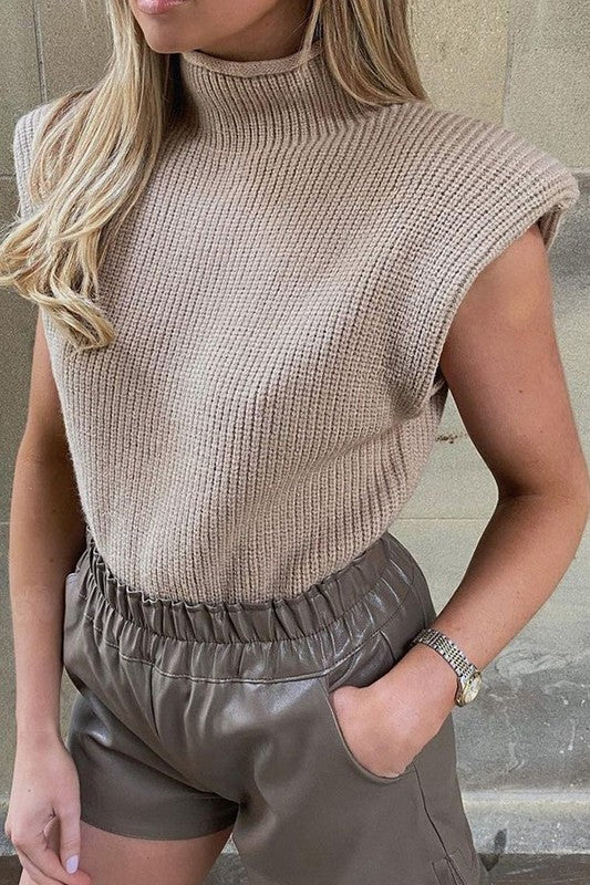 Drama Padded Shoulder Sweater