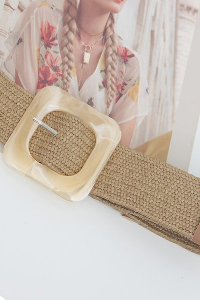 Pearl Resin Buckle Woven Belt