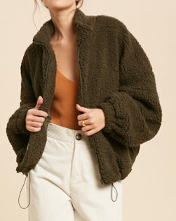 Fuzzy Drawstring Jacket