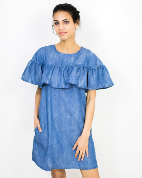 Chambray Cape Sleeve Dress