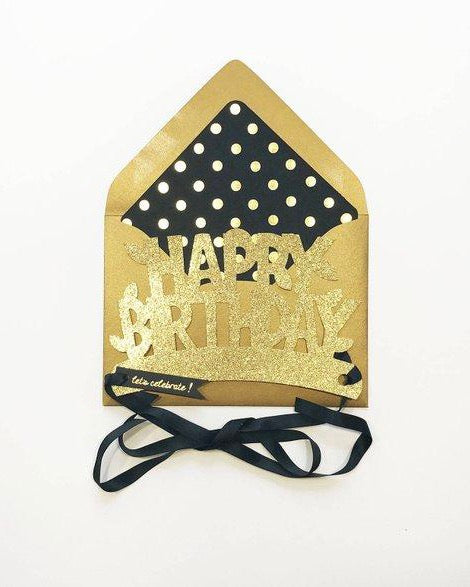 The First Snow - Gold Happy Birthday Glitter Crown Card