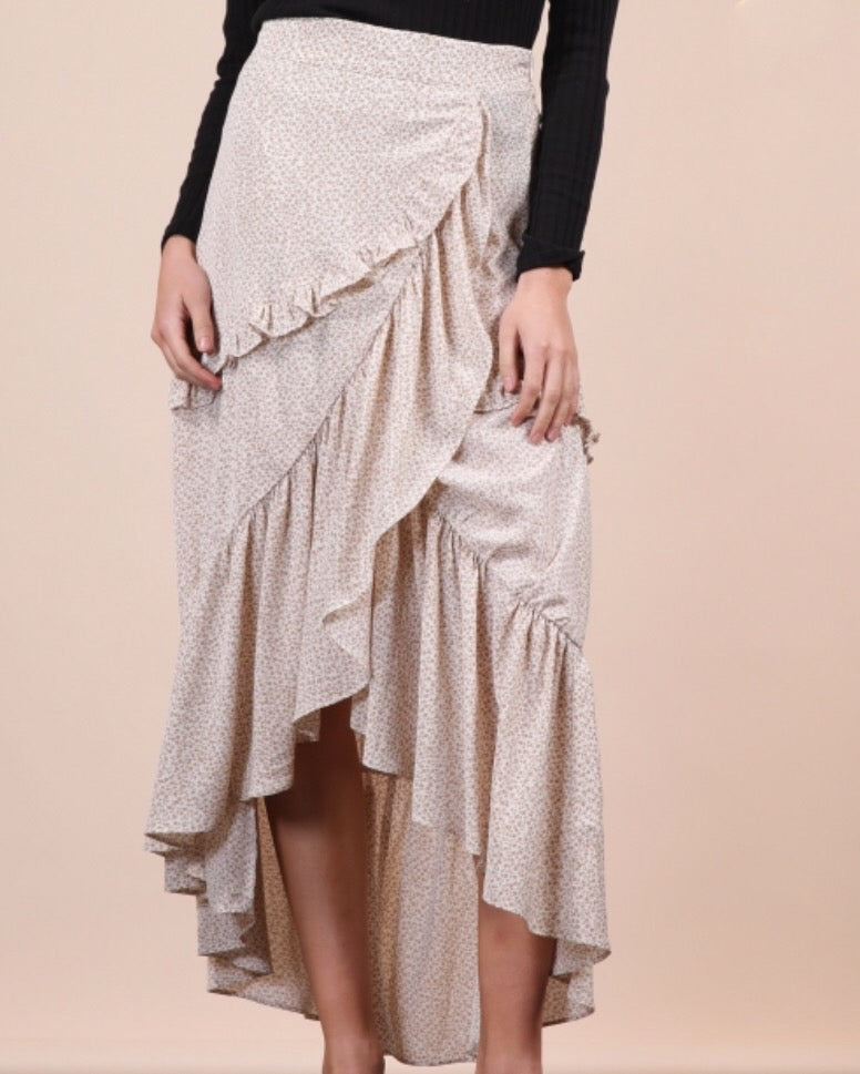 Ditsy Ruffled Midi Skirt